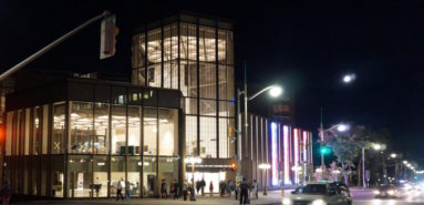 The National Arts Centre Elgin Street entrance with its glass tower was designed by the Toronto firm Diamond-Schmitt. Photo: Peter Robb
